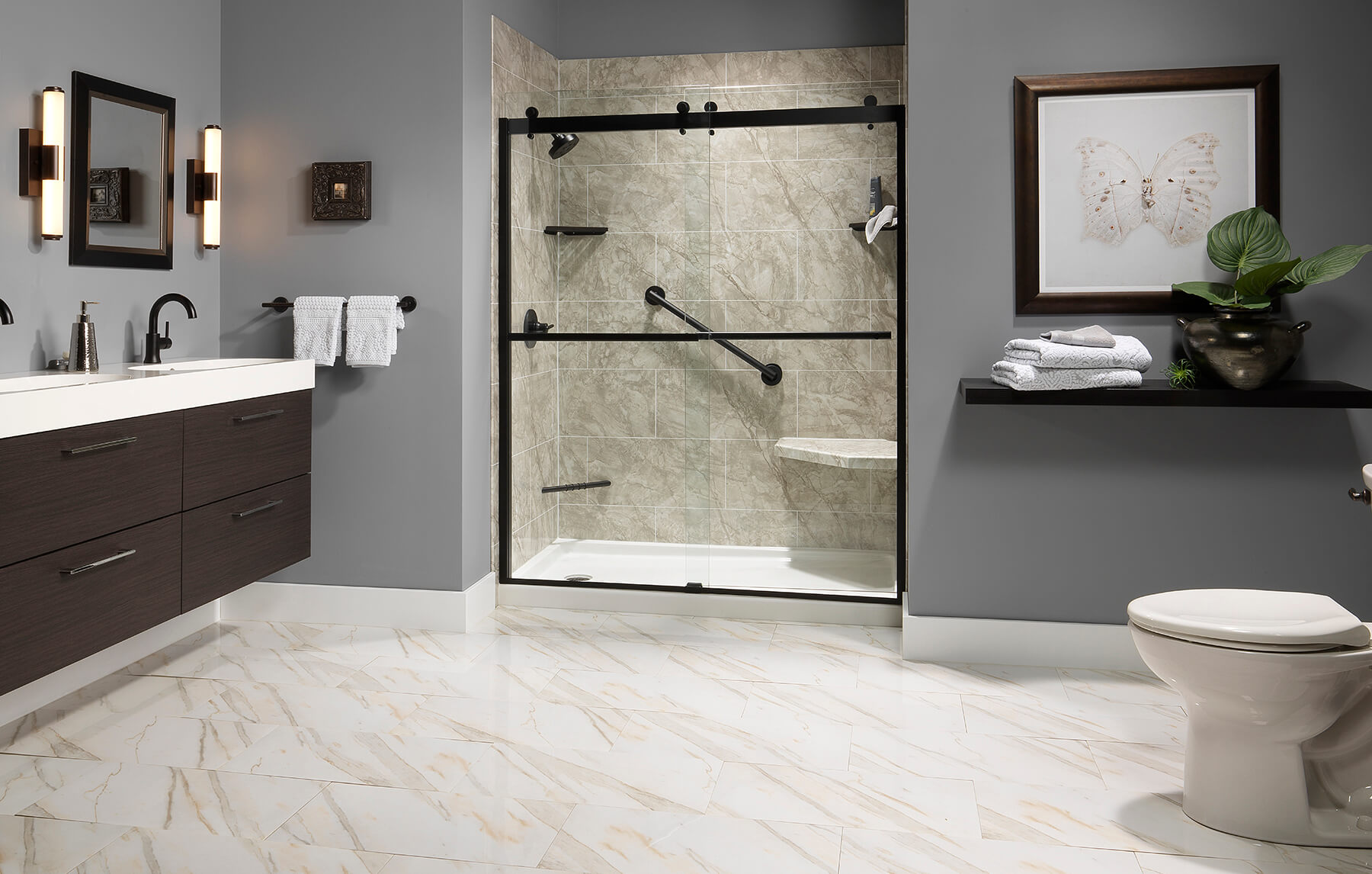 Napoli Marble Roman Block Etched Walls NM Hex Seat White Shower